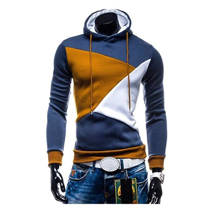 Mistere 2018 Hoodies Men Sudaderas Hombre Hip Hop Mens Hit Color Stitching Hooded Men Hoodies Sweatshirt at Amazon Mens Clothing store:
