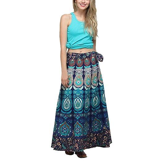 cf8e8eac5d Amazon.com: Women's Bohemian Floral Print Wrap Skirt Long Maxi Skirt Loose  Plus Size Party Beach Skirt (Blue,): Clothing