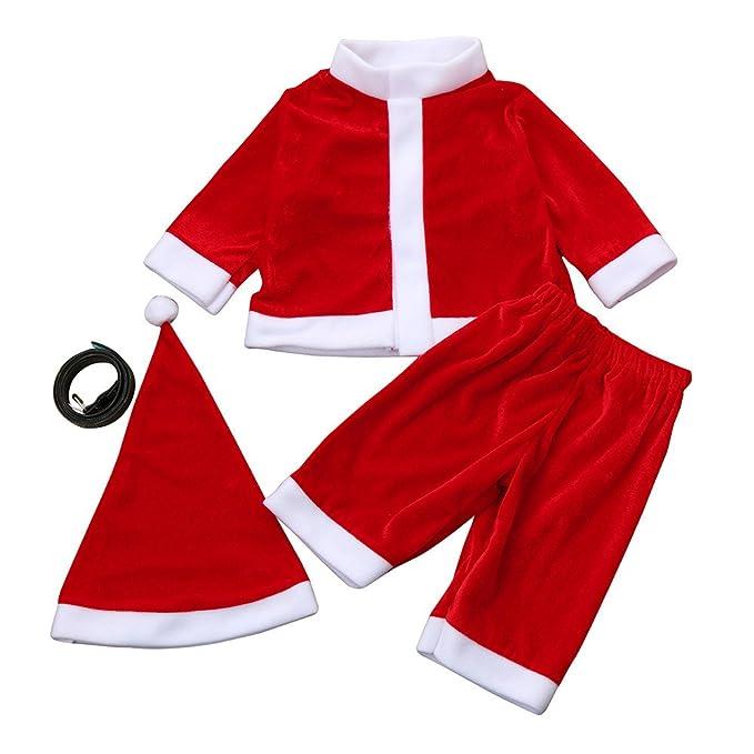 Subfamily Conjunto navideño Infantil Vestido de Manga Larga Estilo Papá Noel Tops Pantalones Calcetines Gorro Traje de Cuatro Piezas Ropa 4PCS Infant Baby ...