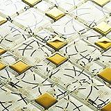 Gold Coated Glass Mosaic, White Crystal Random Pattern - Bathroom/Kitchen Wall/Backsplash (Box of 11 Sheets)