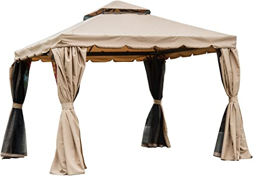 Outsunny 10 x 10 Outdoor Patio Gazebo with Beautiful Polyester Curtains and Air Venting Netted Screens, Khaki