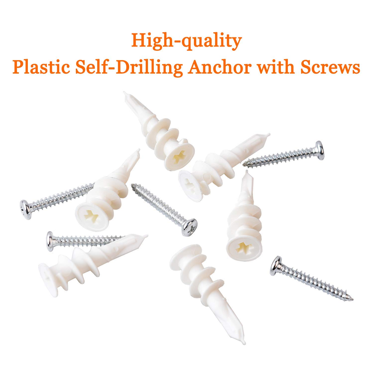 13x42mm + 15x33mm ISPINNER 140pcs Drywall Anchors Plastic Self Drilling Hollow Wall Anchors with Screws Assortment Kit