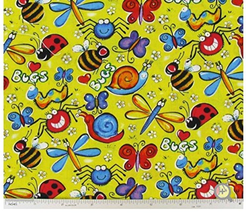 Yellow Just Buggy Bugs Valance Window Curtain Treatment Cotton Fabric 43