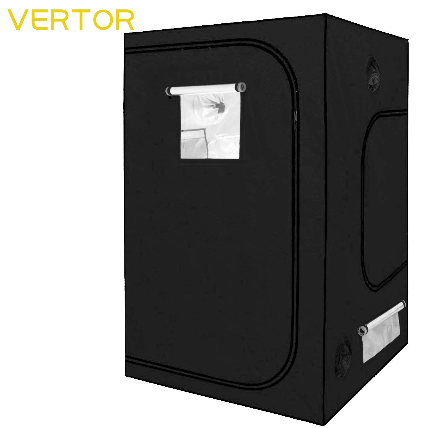 VERTOR 60 x60 x80 Reflective Mylar Hydroponic Grow Tent with Observation Window and Waterproof Floor Tray for Indoor Plant Growing 5×5 for 6 Plants