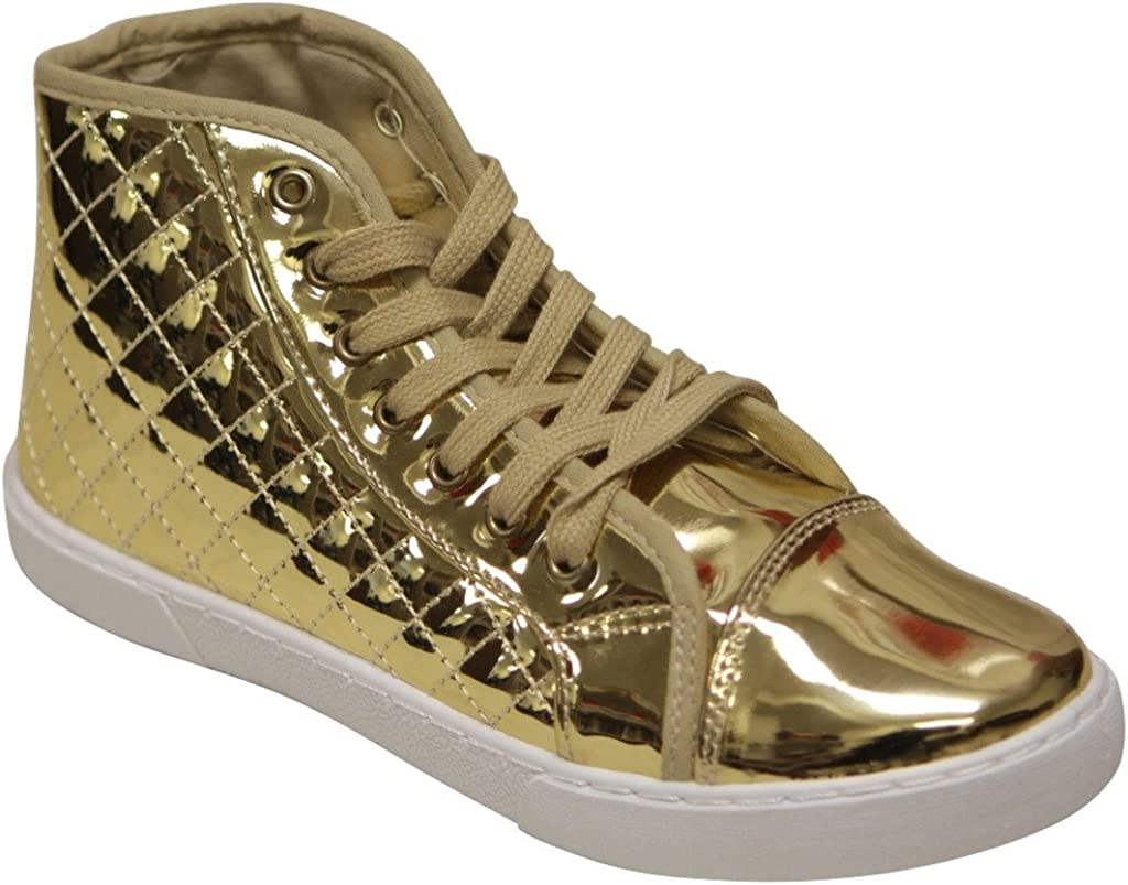 Qupid Reeve-01 Fashion Comfort Sport Metallic Vamp lace up Patent Leather high top Quilted Sneakers