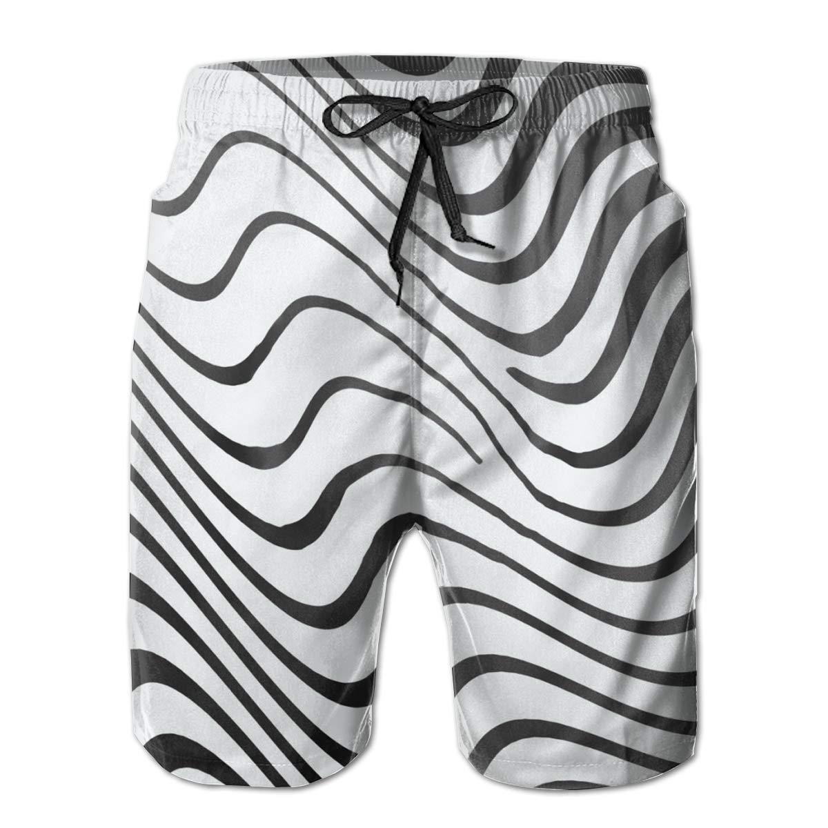 FUNSTYEET Zebra Ripple Mens Board Shorts Swim Mesh Lining and Side Pocket