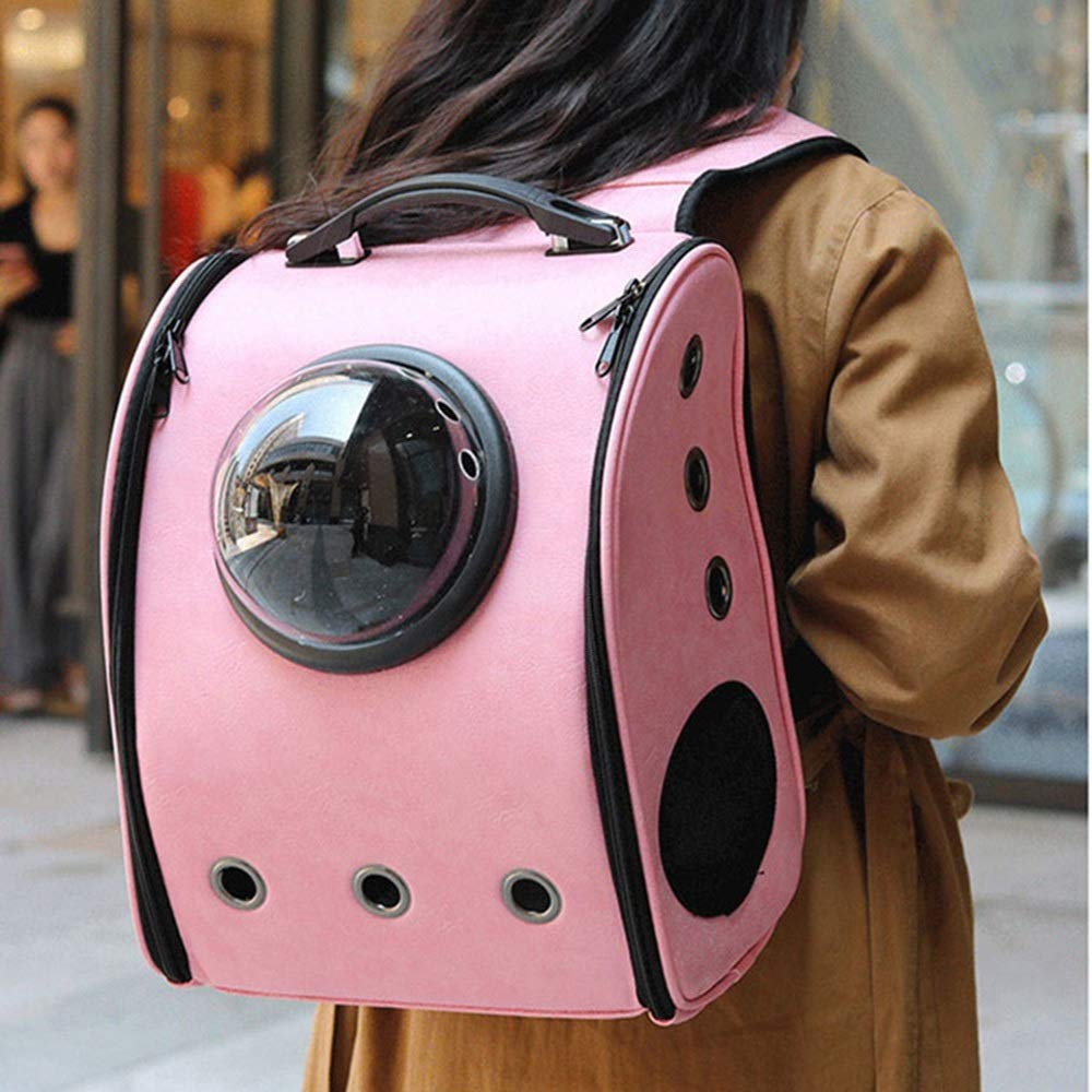 Pink 371832cm Pink 371832cm HYUE Pet Bag Space Backpack Breathable Pet Take-Out Bag Dog Out Portable Backpack,Portable Travel pet Backpack (color   Pink, Size   37  18  32cm)