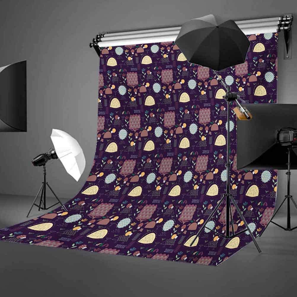 10x12 FT Photo Backdrops,Doodle Forest Theme Pattern with Porcupine Mushroom Trees Flowers and Plants Print Background for Baby Shower Birthday Wedding Bridal Shower Party Decoration Photo Studio