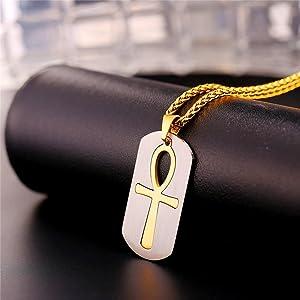 Acero Inoxidable Chapado en Oro 18K//Metal Negro con Cadena 55cm Ajustable U7 Collar de Placa con Cruz Ankh Anj