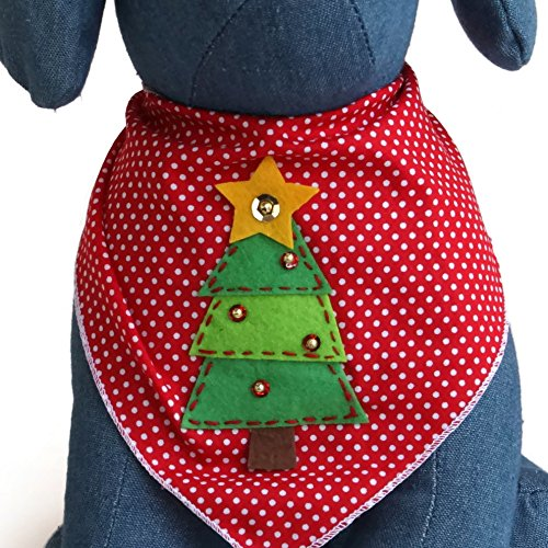 Tail Trends Christmas Dog Bandanas Christmas Tree Designer Appliques 100% Cotton