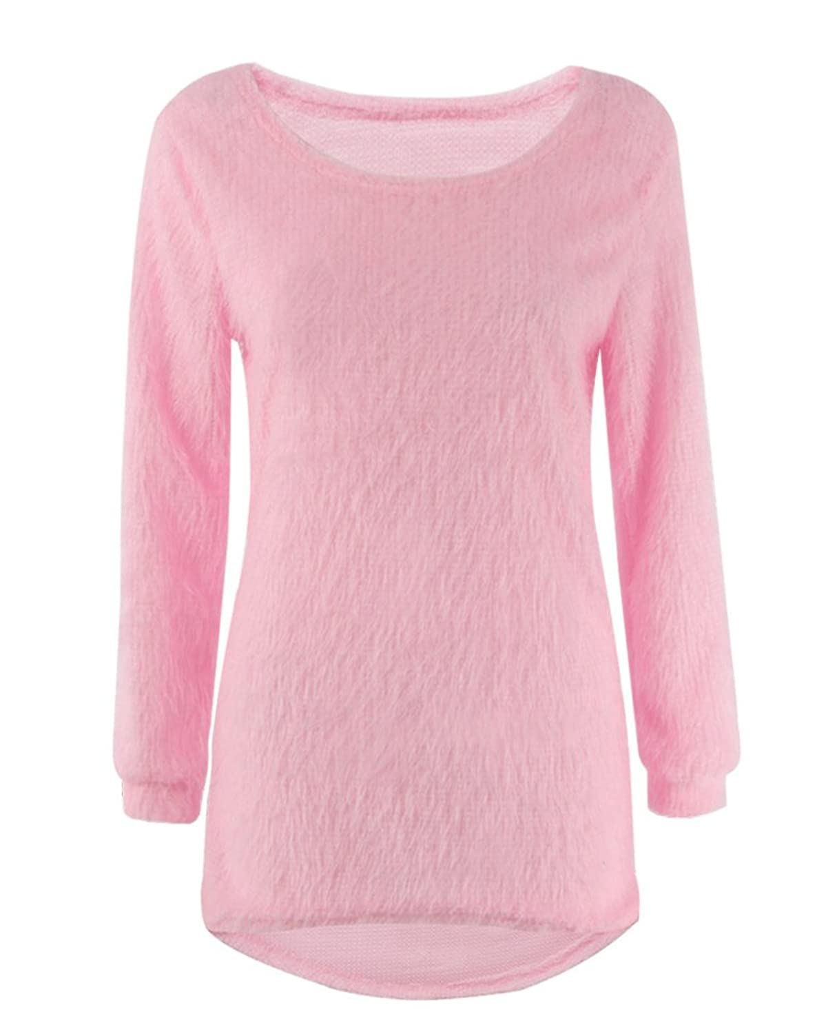 cheap Mujer Larga Manga Suelto Suéter Pull-over Casual Parte Superior Blusa  Pink L 3bc509d89c3ea