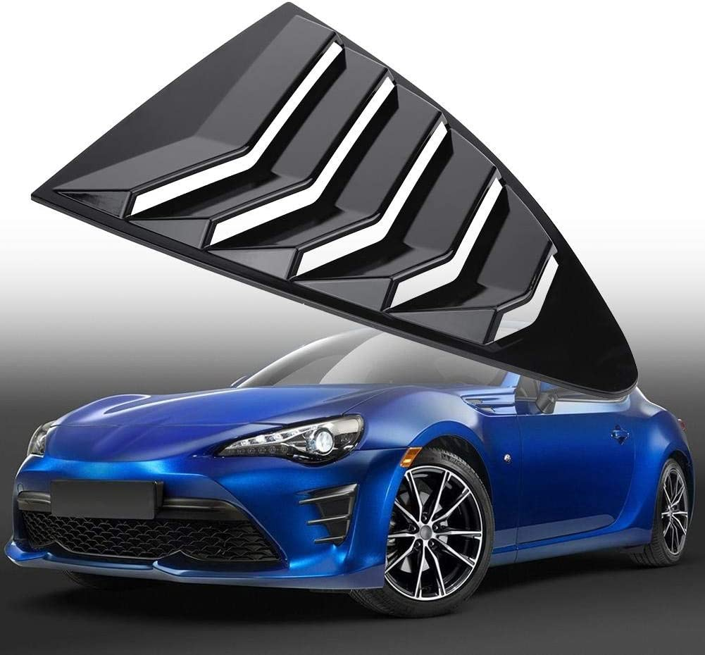 Rear Side Window Louvers Black 1 Pair Side Window Louver Vent Cover Trim Air Vent Scoop Shades Cover for 86 FR-S BRZ 2013-2018