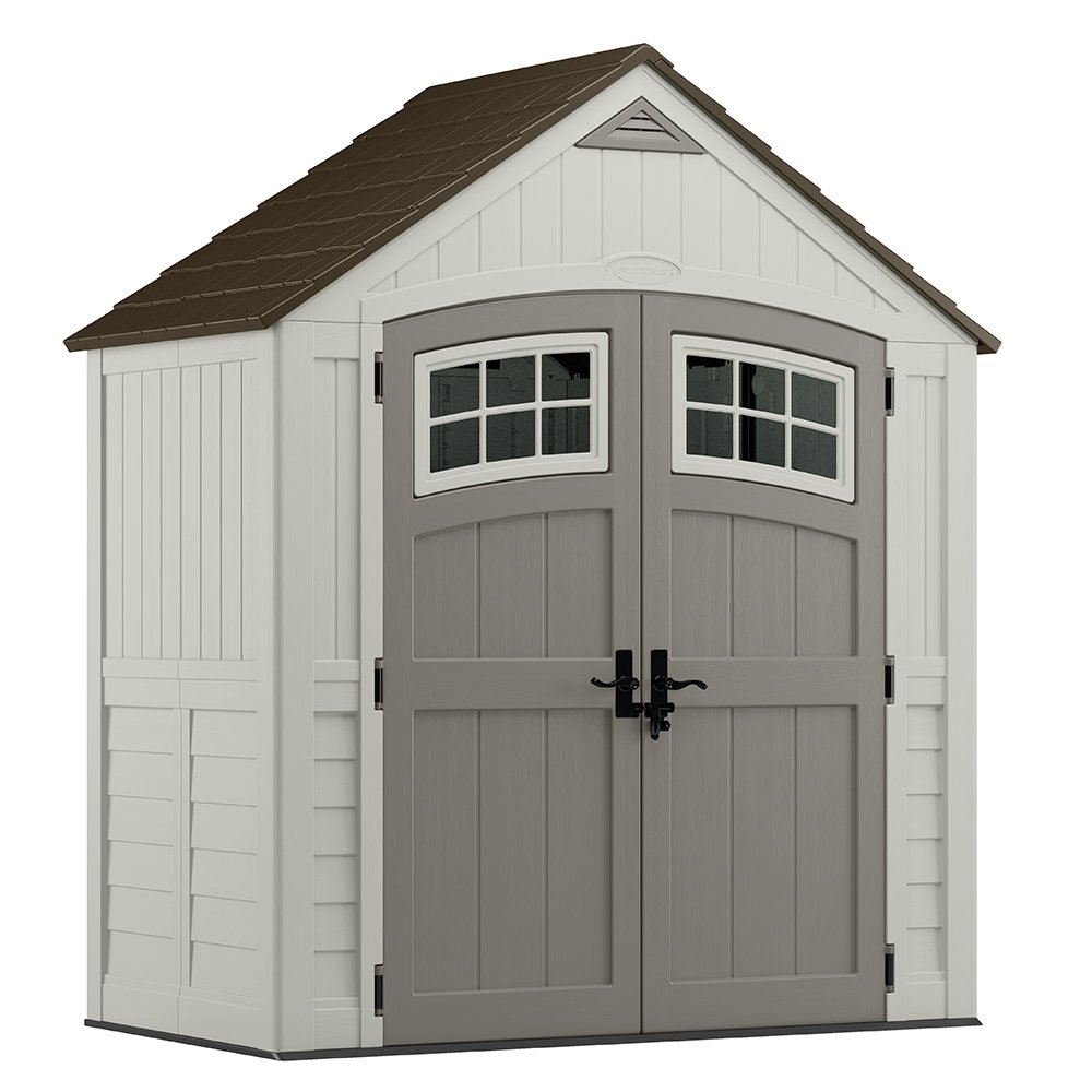 Suncast 6' x 3' Cascade Storage Shed - Outdoor Storage for Backyard Tools and Accessories - All-Weather Resin Material, Transom Windows and Shingle Style Roof by Suncast