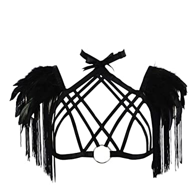 Amazon Com Hanaernes Body Harness Feather Caged Bralette Sexy Crop