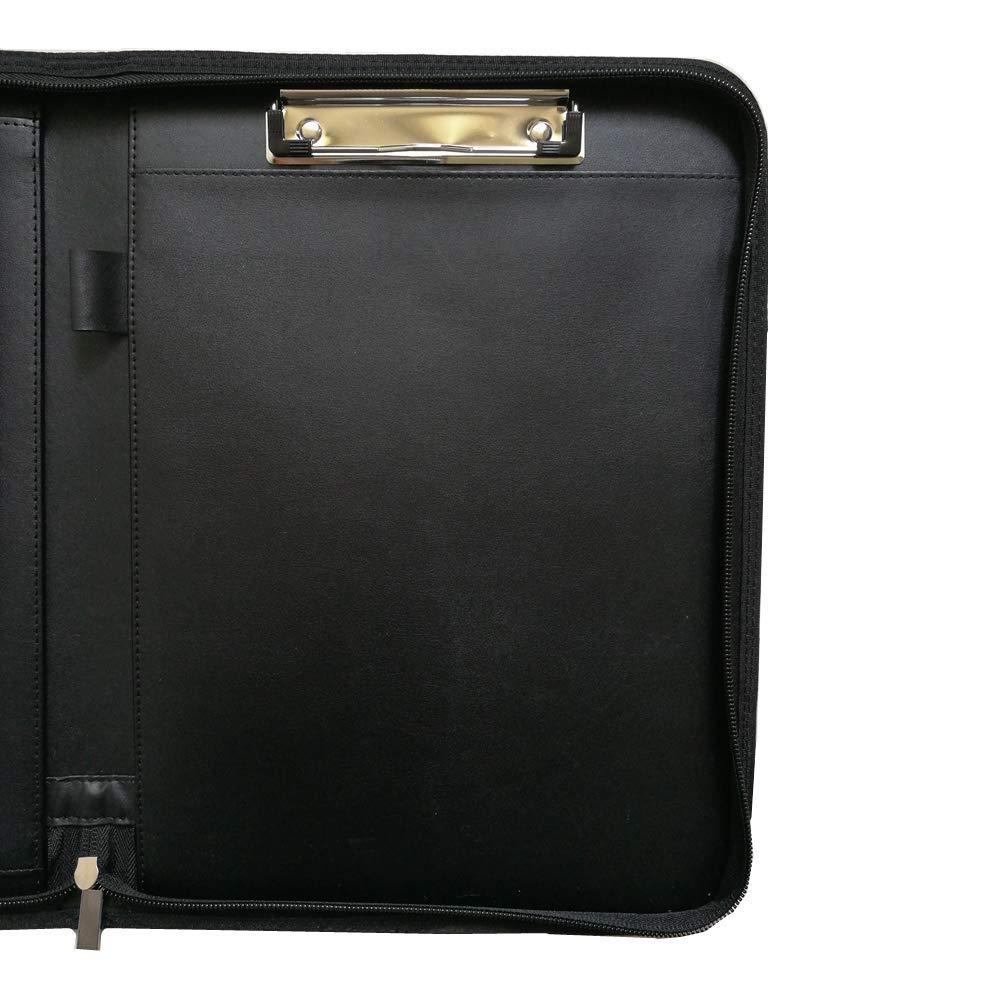 Zip Cartella Portadocumenti A4 PU Pelle con Anelli Maniglia Calcolatrice e Blocco Note Organizzatore Cartellina Porta Documenti per Casa Ufficio Business Conferenza Viaggio