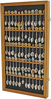 product image for flag connections 60 Spoon Rack Display Case Holder Wall Cabinet, UV Protection, Lockable (Oak Finish)