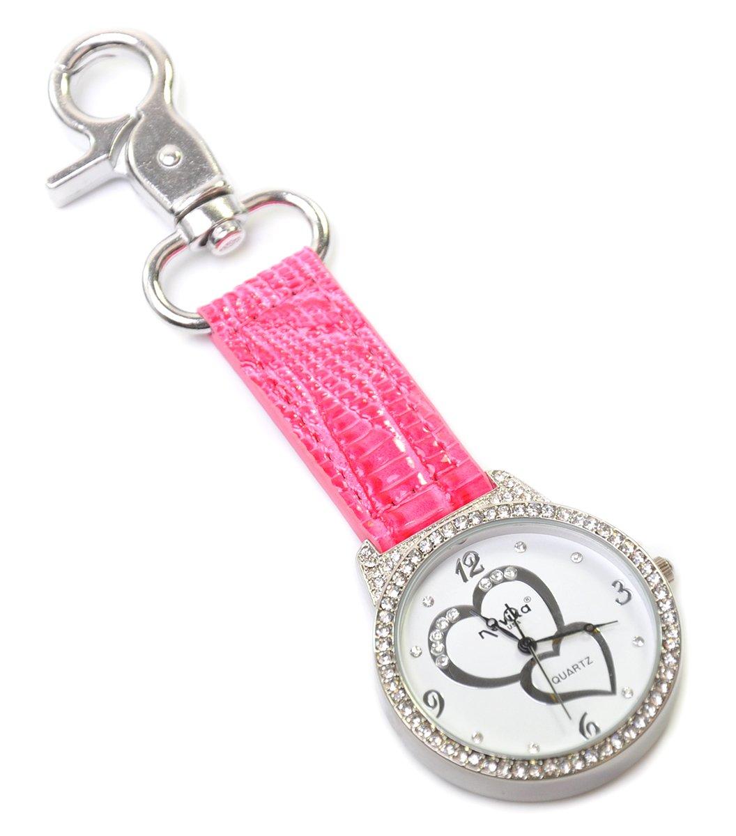 LPGA Women's Crystal Double Heart Bag Watch, Pink, 1 1/2 x 4 1/2