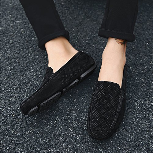 Cricket Shoes Black Upper Loafers Boat Men's Driving Moccasins Breathable Genuine Perforation Leather gvPzfqwC