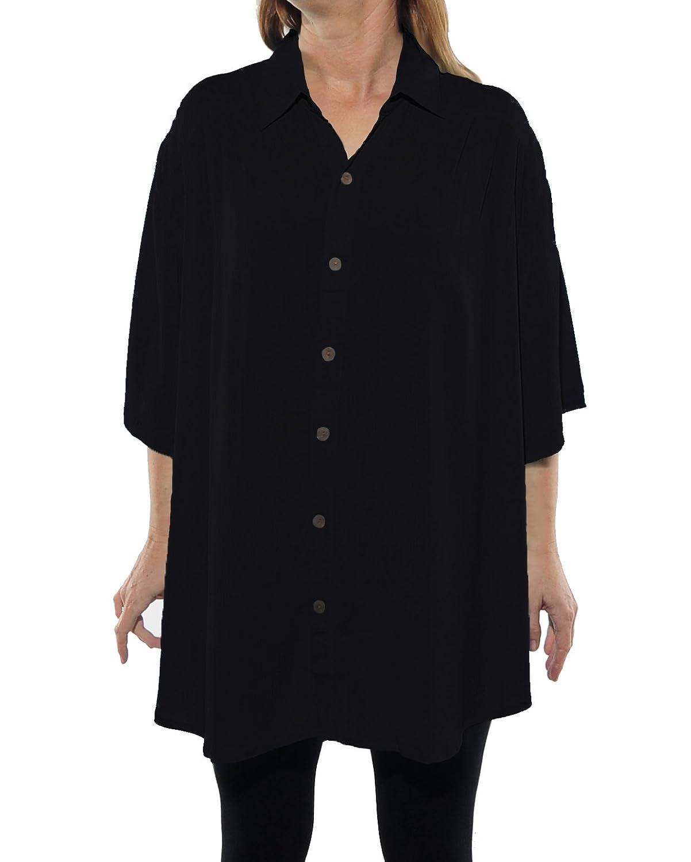 We Be Bop Womens Plus Size Solid Black Flat Rayon New Tunic Top 0X 1X 2X 3X 4X 5X 6X