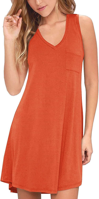 KEEDONE Women's Sleeveless Pockets Casual Swing T-Shirt Dresses