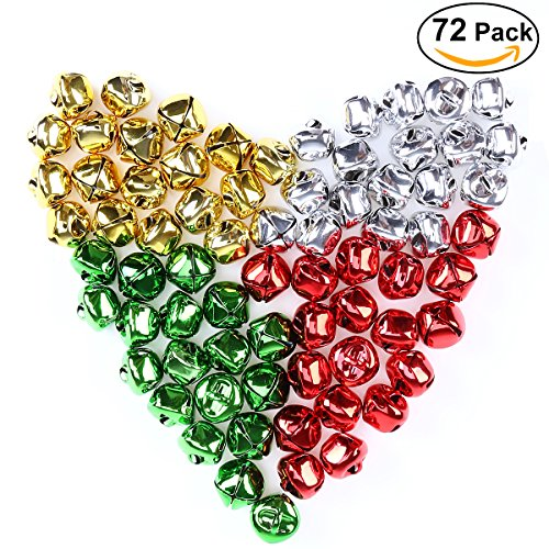 UNOMOR Christmas Bells DIY your own garland & gifts Craft for Christmas Holidays with Gold, Silver, Red and Green Colors, 3⁄4'' (72PCS)