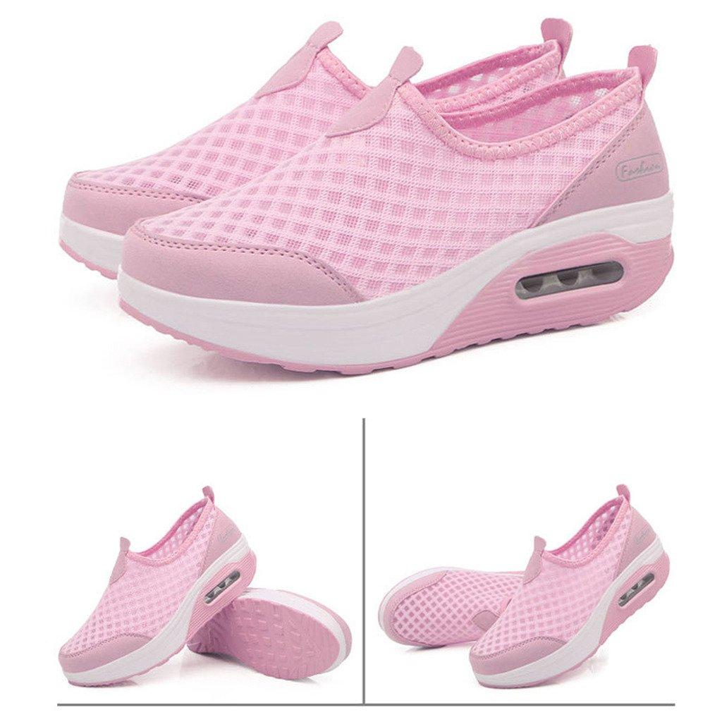 Hishoes Damen Netz Plateau Sneaker Schuhe Outdoor Mesh Keilabsatz Wedge Loafer Freizeit Slip on Wedge Keilabsatz Platform Laufschuhe Sommer Pink fa9d65
