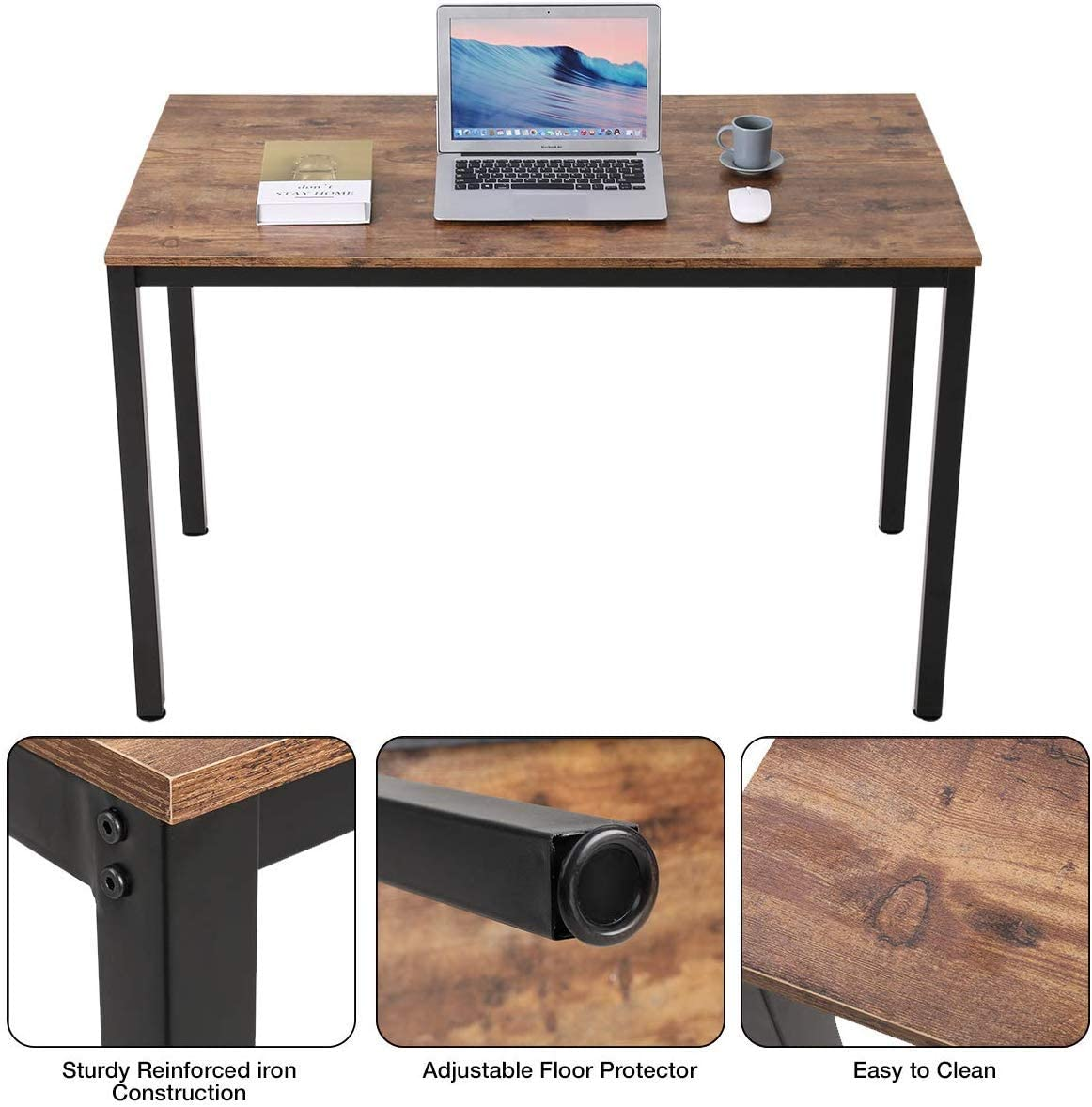 Writing Computer Desk Modern, Bonzy Home Computer Desk 47.2 for Home Office, Sturdy Writing Desk Study Table Gaming Table Brown