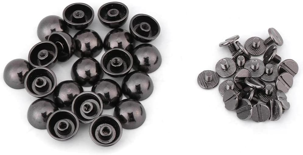 Metal Snap Fasteners Mushroom Rivets Leather Snap Buttons Press Studs for Clothes Jackets Jeans Wears Bracelets Bags Black