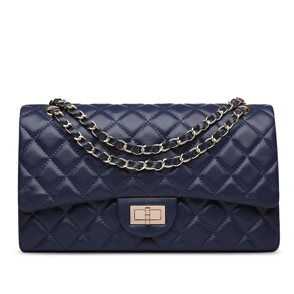 Ainifeel Women's Quilted Leather Shoulder Handbag Hobo Bag Purse (Large, Blue)