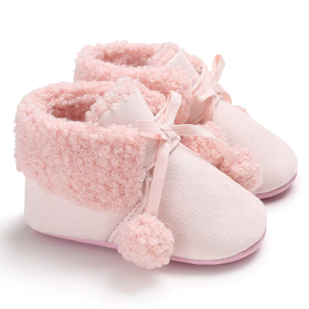 MiyaSudy Toddler Baby Girls Boys Boots Plush Pom Pom Rubber Sole Non-Slip Outdoor Shoes Warm Snow Boots 0-18 Months