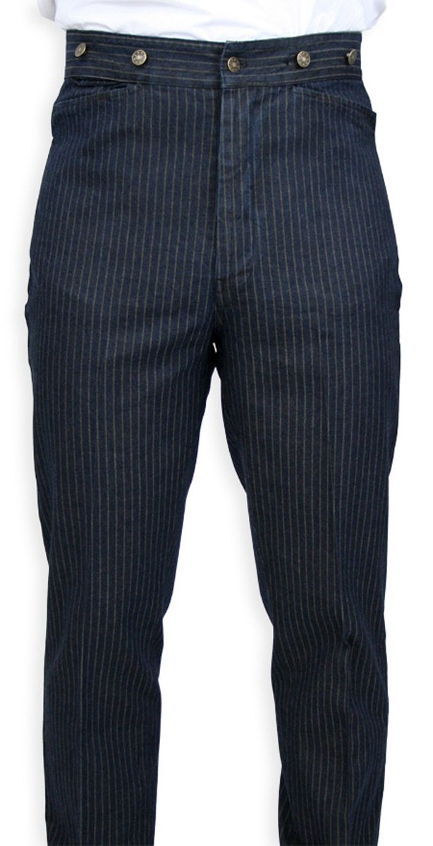 Historical Emporium Men's High Waist Humboldt Cotton Striped Trousers 38 Navy