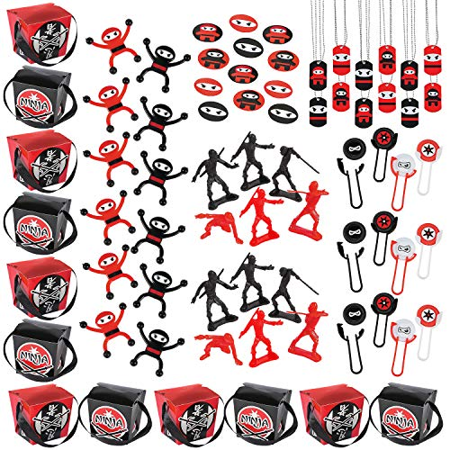 Ninja Party Favors Assortment (60 pcs) and 12 Ninja Takeout Goody Boxes - 72 Pieces Total]()