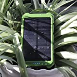 Solar Charger, Solar Power Bank 10000mAh Portable Rugged Shockproof Dual USB Solar Battery Charger Solar Power Charger Backup External Battery Power Pack Constructed with a Solar Panel for Emergency Charging For iPhone 6 Plus 5S 5C 5 4S, iPod 5 4, Galaxy S6 S6 Edge S5 S4 S3 Note 4 3, LG G3, Nexus, HTC One M9, Gopro Camera, GPS and More (Green)