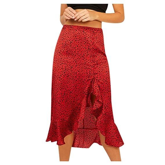 QIjinlok Falda Leopardo Mujer Midi Rojo Falda Larga Estampada de ...
