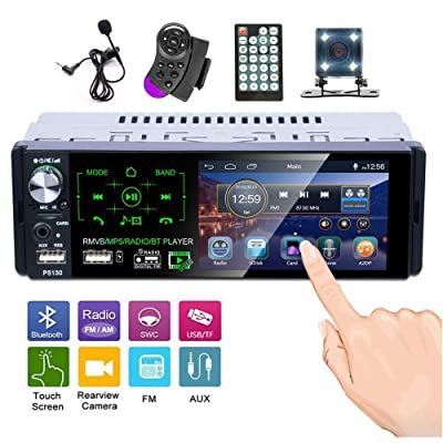 Single Din Touch Screen Car Stereo 4.1 Inch Bluetooth AM FM RDS Radio Receiver with Rear Microphone Input USB SD AUX Input + Rear View Camera Steering Wheel Control Microphone: Home Audio & Theater
