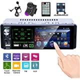 Hikity Single Din Touch Screen Car Stereo 4.1 Inch Bluetooth AM FM RDS Radio Receiver with Rear Microphone Input USB SD AUX I