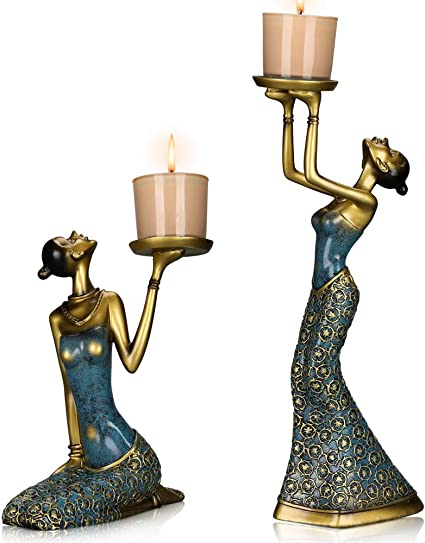 Mrealgal Antique Beauty Decorative Candle Holders Set Of 2 Functional Coffee Table Decorations Centerpieces For Dining Living Room Best Wedding Birthday Blue Small Amazon Co Uk Kitchen Home