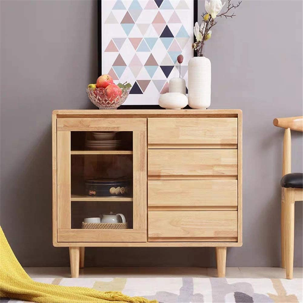 YADSHENG Sideboard Wood Accent Cabinet Entryway Bar Dining Room Buffet Server Cabinet Console Table Buffets & Sideboards (Color : Wood, Size : 90X40X80CM)
