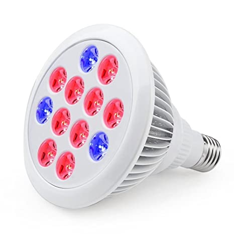deesun interior 12 W LED Grow Bombilla con E26 Socket 3 rojo ...