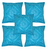 Home Furnishing Decorative Heavy Handmade Embroidered And Mirror Work Indian Cotton Maroon Throw Pillow Cushion Covers 16 x 16 Inches Set Of 5 Pcs (Sky)