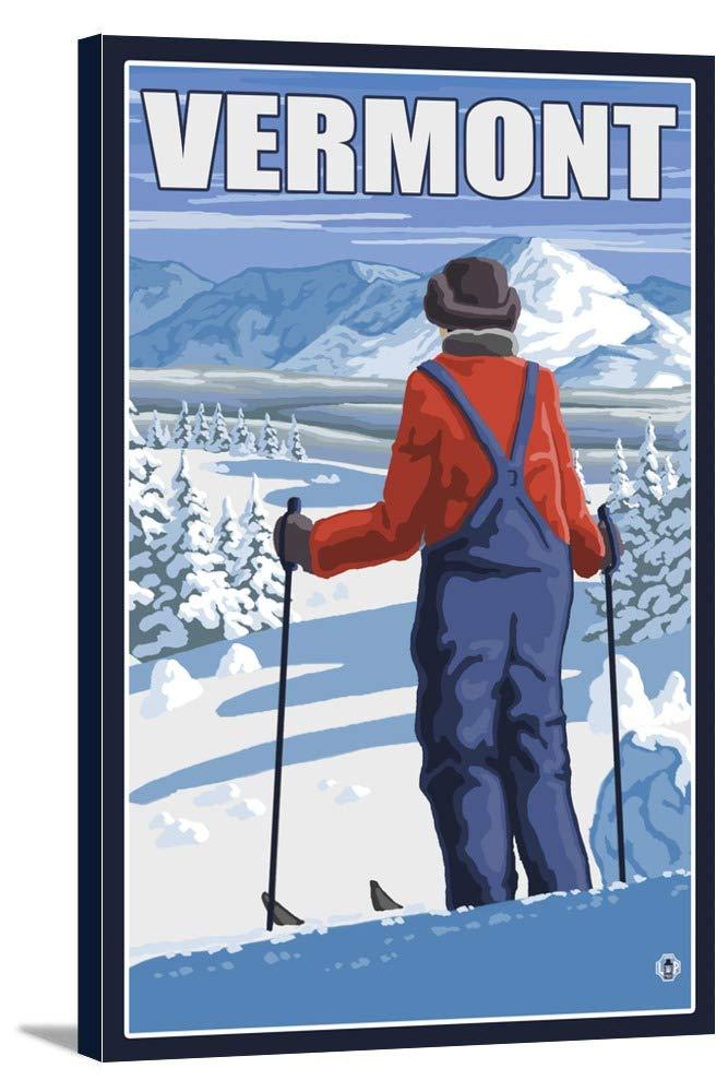 Vermont – Skier Admiringビュー 24 x 36 Gallery Canvas LANT-3P-SC-19582-24x36 B0184AV6PA  24 x 36 Gallery Canvas