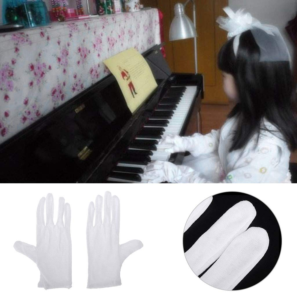 Exing White Soft Cotton Lint Free Gloves Marching Band Instrument Performance