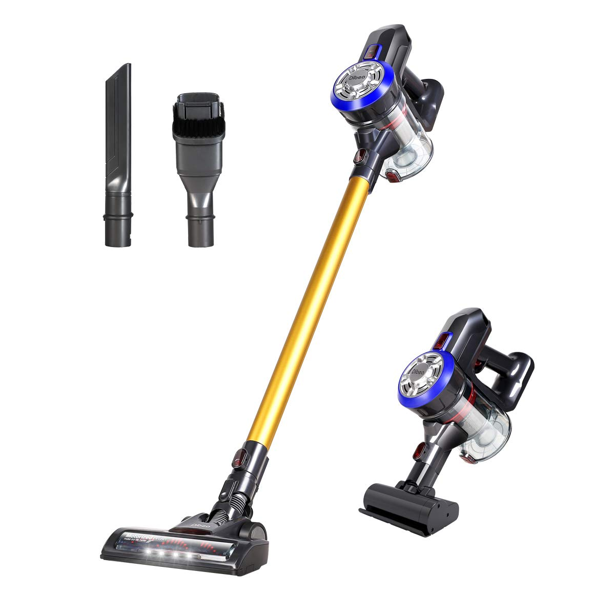 Dibea D18 Lightweight Cordless Stick Vacuum Cleaner, 2 in 1 Bagless Rechargeable Handheld Car Vacuum with Mini Motorized Brush for Floor Carpet Pet Hair, Gold by Dibea