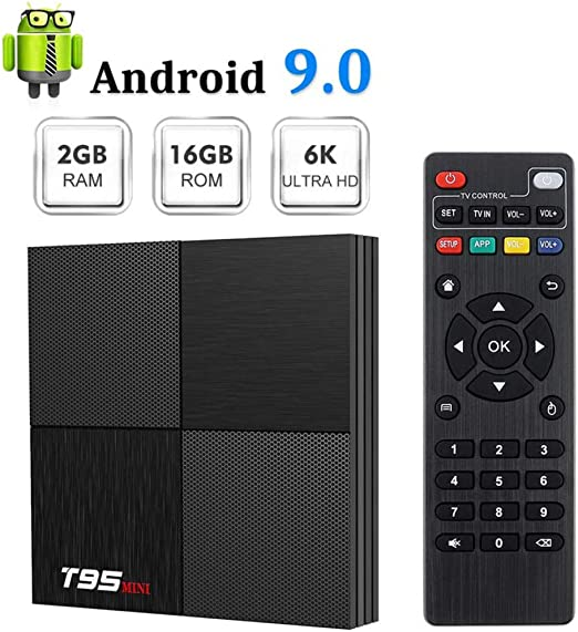 YPSMLYY T95 Mini 2GB RAM 16GB ROM H6Android 9.0 TV Box HD Network Player Quadcore Cortex-A53 Smart TV Box 2.4GHz WiFi 3D 6K Android Box Streaming Media Player: Amazon.es: Hogar