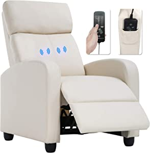Recliner Chair for Living Room Massage Recliner Sofa Reading Chair Winback Single Sofa Home Theater Seating Modern Reclining Chair Easy Lounge with PU Leather Padded Seat Backrest (Leather Beige)