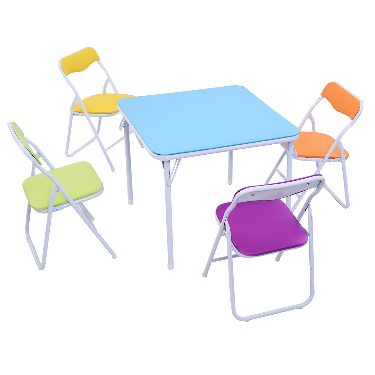 Costzon Kids Table and Chair Set, 5 Piece Colorful Folding Portable Activity Table Set, Steel Lightweight Compact Indoor Set with Bright Color for Toddlers, Girls by Costzon