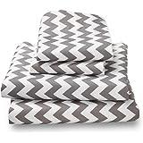 Queen Sheet Set Gray Chevron - Double Brushed Ultra Microfiber Luxury Bedding Set