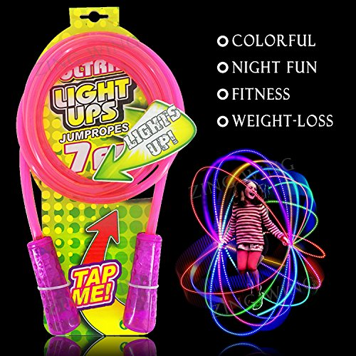 Jump Rope Kids, Kids Led Light Up Jump Rope Chinese Jump Rope Skipping Glow in Dark Flashing Color Change 7 Foot Cable Pink Gift for Girls Kids Mom Wife Best - Dark Rope
