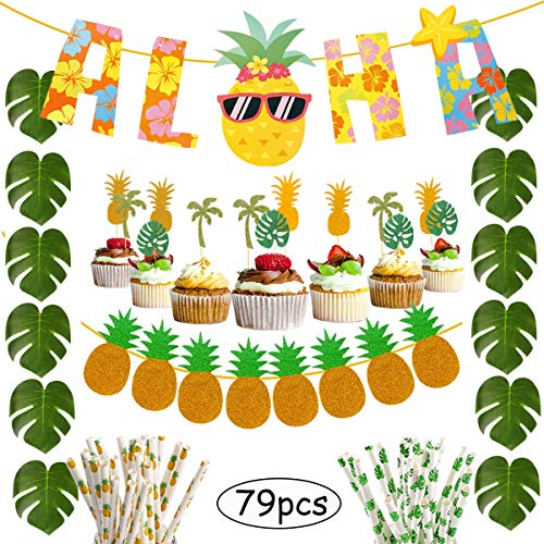 Hawaiian Party Decorations Pack 79Pcs - Aloha Banner Tropical Palm Leaves Cake Topper Paper Straws Luau Hawaiian Party Supplies by QIFU ()
