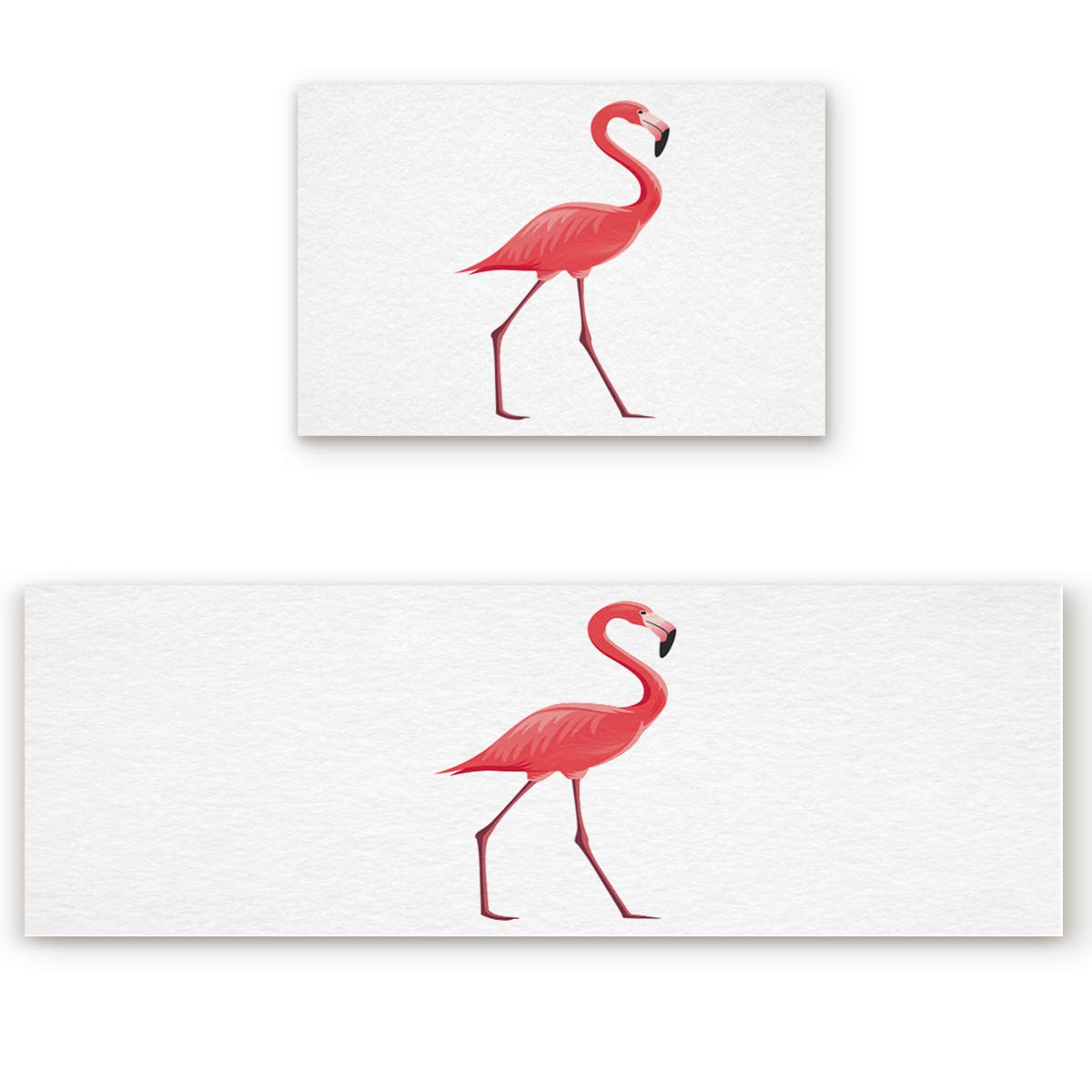 Flamingosoa5428 23.6\ SODIKA 2 Pieces Kitchen Rug Set,Non-Skid Slip Washable Doormat Floor Runner Bathroom Area Rug Carpet,Flamingo (23.6x35.4in+23.6x70.9 inches)